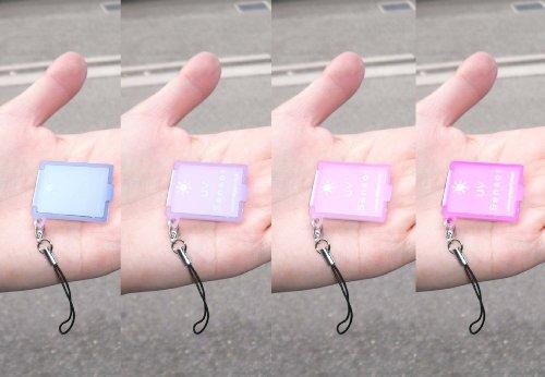 『紫外線』強さで色が変わるUVチェック付ミラー(携帯ストラップ付)■UVセンサー付携帯コンパクトミラー×1点