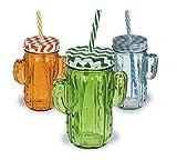 Giglio - Juego de 6 tarros de cactus con asas, cierre de tornillo de metal y pajita de plástico, aprox. 350 ml, altura: 14 cm, 4 colores surtidos