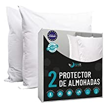 Dreamzie - Juego de 2 Fundas de Almohada Impermeables 40 x 80 cm - 100% Algodón Oeko-Tex® - Protectores de Almohada Transpirable, Hipoalergénica, Anti-Acaros, Anti-Bacteriana - Garantía 10 años