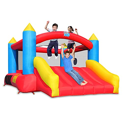 Action air 2021 Version Bounce House, Inflatable Bouncer with Air Blower, Jumping Castle with Slide, Family Backyard Bouncy Castle, Durable Sewn with Extra Thick Material, Idea for Kids(C-9745)