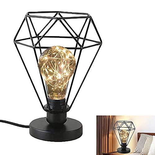 Chao Zan Lámpara de mesa de diamante de hierro forjado negro Lámpara de mesa de vela E27 Lámpara de escritorio de metal Lámpara de mesa Vintage Luz de noche para Casa Habitacion oficina estudio
