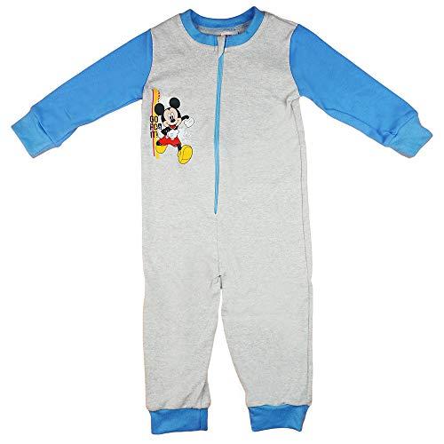 Jungen Schlafoverall Pyjama Einteiler Onesie Schlaf-Anzug Kinder-Strampler-Anzug mit Mickey Mouse von Disney in Größe 92 98 104 110 100% Baumwolle Jumpsuit (Modell 2, 92)