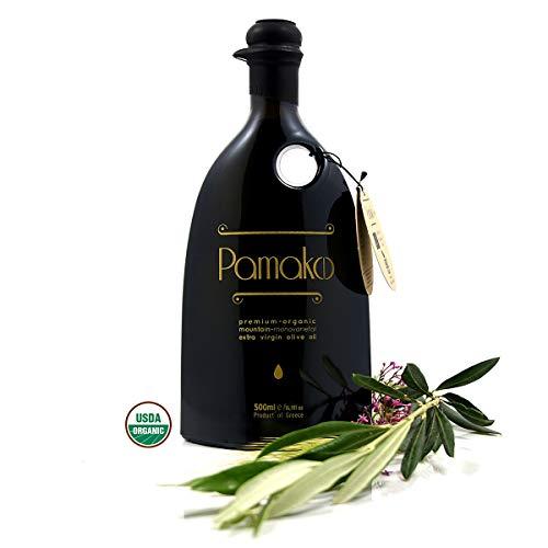 Pamako Ultra-Premium Monovarietal Mountain Organic Olive Oil   Multiple Award-Winner   Organic Extra Virgin Olive Oil   High Phenolic Content of 1944 mg/kg   USDA Certified   Greek Olive Harvest 2020   (500 ml)
