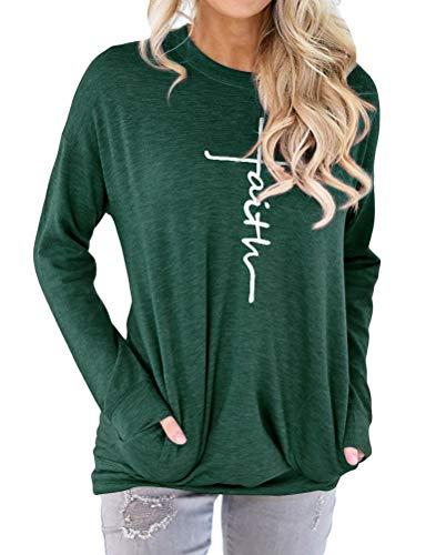 Dresswel Damen Faith Print Sweatshirt Pullover Pulli Rundhalsausschnitt Langarm T-Shirt Tunika Tops Bluse mit Taschen