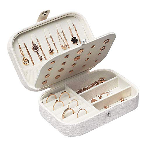 Lrikas Piccolo Portagioie da Viaggio Portagioie Donna Scatola di Gioielli Organizzatore di Gioielli Jewelry Box 16,5 x 11,5 x 5,5 cm (Bianco)
