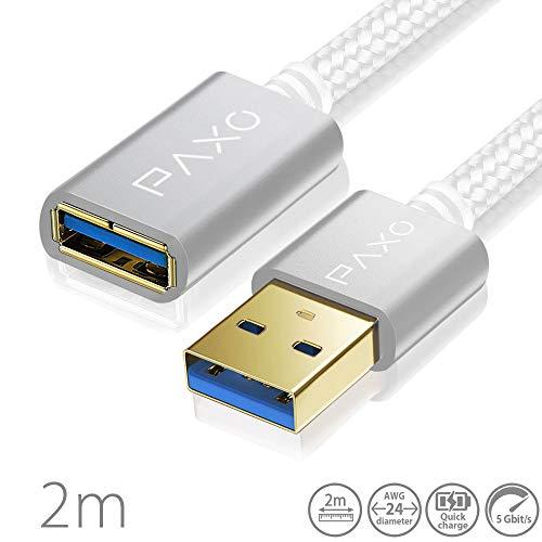 2m Nylon USB USB 3.0 Verlängerung weiß, A-A USB Verlängerungskabel mit eleganten Alluminiumsteckern, Nylon Stoffmantel & Kabelklett