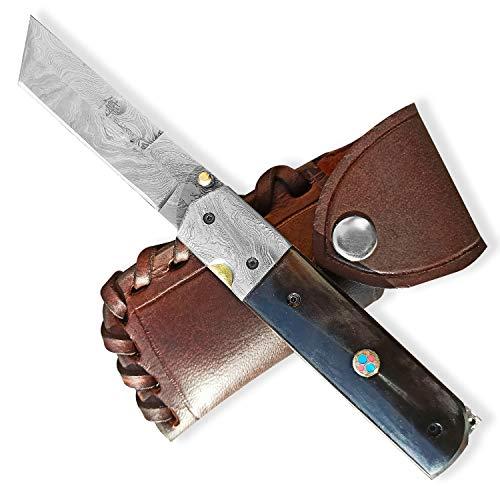 DELLINGER Torunn Tanto & Damast Taschenmesser & Klappmesser & Damaststahl Messer & Outdoor Damastmesser Folder Knife 9,5cm Klinge
