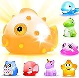 LYKJ-karber CHIMAGER Badespielzeug mit LED, 8 Stück Schwimmendes Badewannentierchen Bad Spielzeug Set für Baby Kleinkinder Kinder Vorschule in Badewanne Pool Badezimmer Schwimmbad Party, 8er-Set
