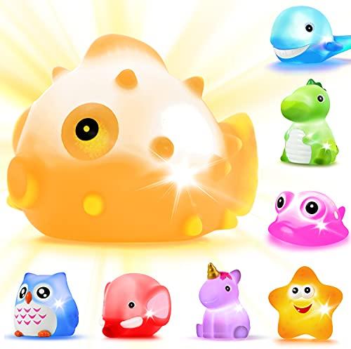 LYKJ-karber Badespielzeug mit LED, 8 Stück Schwimmendes Badewannentierchen Bad Spielzeug Set für Baby Kleinkinder Kinder Vorschule in Badewanne Pool Badezimmer Schwimmbad Party, 8er-Set