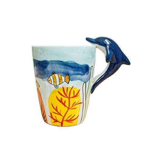 Watenkliy Taza de café 3D, diseño de dibujos animados, taza de café de porcelana, aprox. 400 ml (delfin)