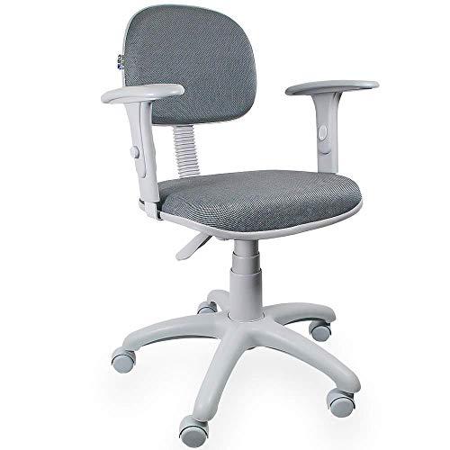 Cadeira Secretária Jserrano Cinza Com Preto Com Braço Base Cinza - ULTRA Móveis