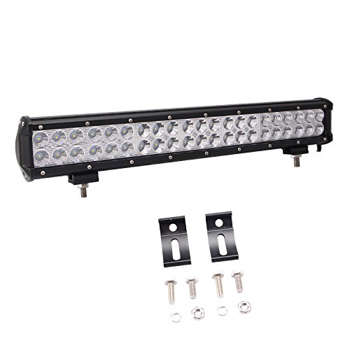 Led Light Bar, Glotech 20' 126W Cree Offroad Light Bar Spot Flood Combo Beam IP67 Waterproof Super Bright Driving Fog Lights for 4WD Truck ATV UTV Pickup With Mount Bracket
