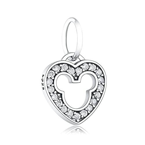 JIAQ Charms Pulsera Pulsera 925 Sterling Silver Heart Mickey Natural Zircon Beads Colgante Haciendo Berloque