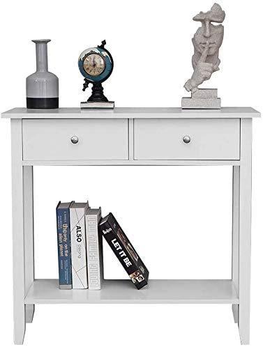 Con la plataforma de almacenamiento de 2 gavetas consola 80cm cajón de madera 2,White
