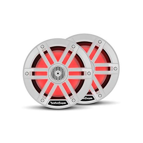 """Rockford Fosgate M1-65 Color Optix 6.5"""" 2-Way Coaxial Multicolor LED Lighted Marine Speakers - White (Pair)"""