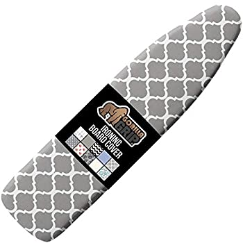 Gorilla Grip Reflective Silicone Ironing Board Cover 15x54 Inch Hook and Loop Fastener Straps Large and Standard Boards Pads Resist Scorching and Staining Elastic Edge Thick Padding Quatrefoil