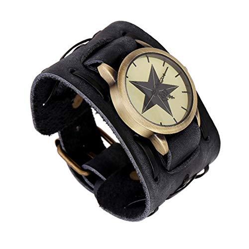 ZFYM Montre en Cuir Vintage Montre la personnalité Masculine Bracelet Durable Mode Poignet décoration tissés à la Main,Noir