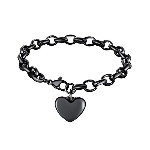 bandmax Stainless Steel Chain Link Hollow Adjustable Bracelet 8.7 inches with Heart Shape Charm Wristband Bracelet Jewelry Valentine's for Women Girl Lover,Black Gun Plated