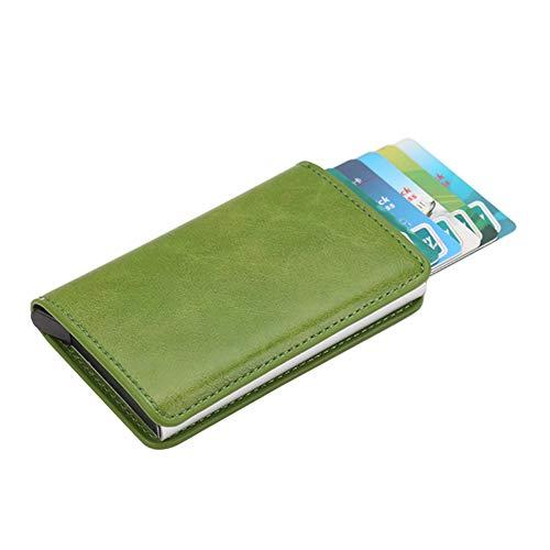 Beeslover - Tarjetero antimagnético, aleación de aluminio, delgada, para tarjetas de crédito, color verde