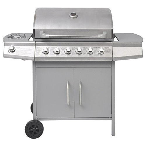 Festnight Barbecue Grill à Gaz 6+1 Brûleurs en SPCC + Acier Inoxydable