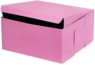 A1BakerySupplies 6 pack Cake Boxes Cake Carry Boxes Disposable Cake boxes (Pink 10 x 10 x 5)