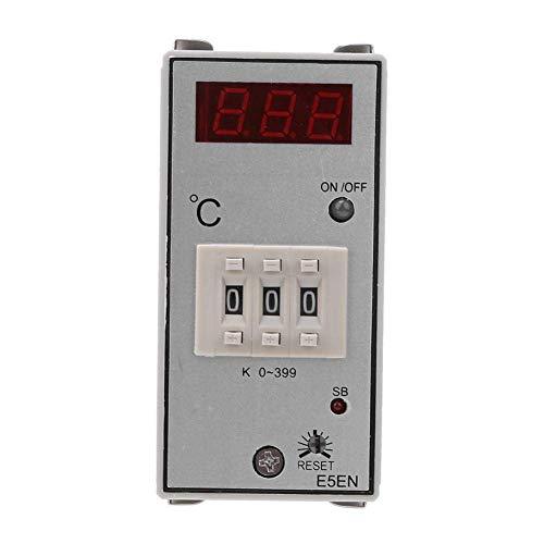KAIBINY Controlador de temperatura de 220VAC, 0-399 ° C Termostato de tipo K-Thermostat Controlador de temperatura de pantalla digital, para hornos de calefacción, hornos, calderas industriales, horno