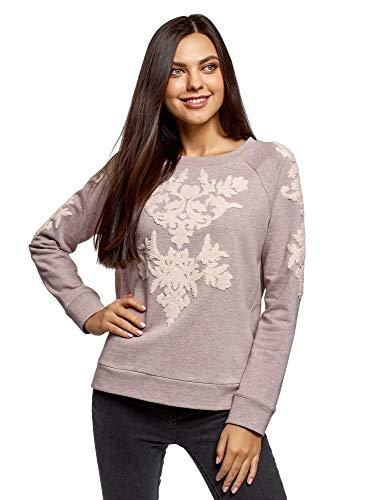 Preisvergleich Produktbild oodji Ultra Damen Sweatshirt mit Stickerei aus Bouclé-Stoff,  Beige