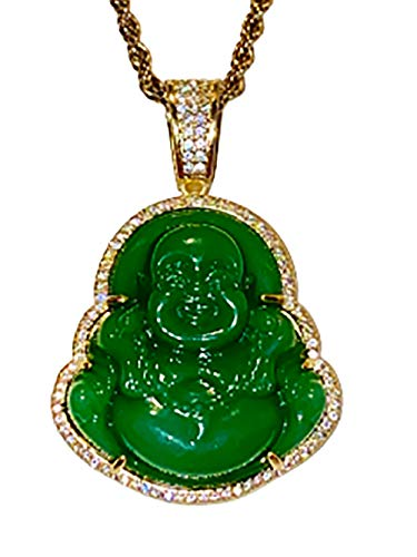 Smiling Iced Laughing Buddha Green Jade Ice out Pendant Necklace Rope Chain Genuine Certified Grade A Jadeite Jade Hand Crafted, Jade Necklace Fast Prime Shipping Iced Green Jade Buddha 22' Rope Chain