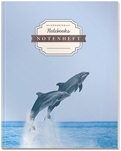 DÉKOKIND Notenheft | DIN A4, 64 Seiten, 12 Notensysteme pro Seite, Inhaltsverzeichnis, Vintage Softcover | Dickes Notenbuch | Motiv: Delphine