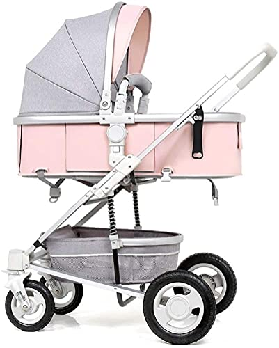 IOUYRRN Cochecito de bebé plegable, sistema de viaje con canasta para bebés Anti-Shock Springs recién nacido bebé silla de bebé ajustable Sistema de viaje PrAM Sistema de viaje para bebés Cochecito de