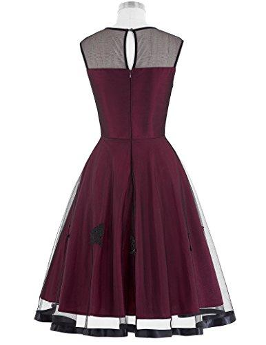 50s Knielang Rundausschnitt Sommerkleid petticoat Kleid Ohne Arm - 2