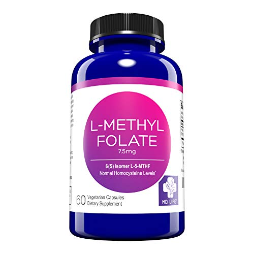 MD. Life L-Methylfolate 7.5 mg - Active Folate 5 Mthfr Support Supplement Professional Strength Methyl Folate - Essential Amino Acids & Brain Supplement- Vegan 60 Purple Carrot Capsules