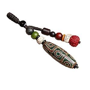 Prime-Feng-Shui-Anhänger, tibetisch, natürlich, DZI-Anhänger, Glücksbringer, Glücksbringer und Reichtum, Amulett (grün)