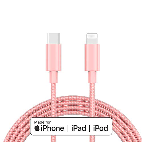 Apple MFi Certified USB C to Lightning Cable Made for iPhone X/XS/XR/XS Max / 8/8 Plus, Supports Power Delivery (for Use with Type C Chargers) 4FT (Rose)