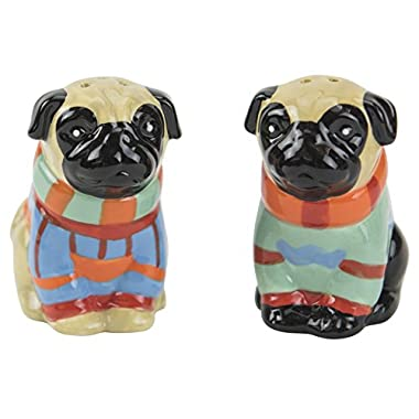 Salt & Pepper Shakers, Pugly Sweater Collection, Hand-painted Ceramic by Boston Warehouse