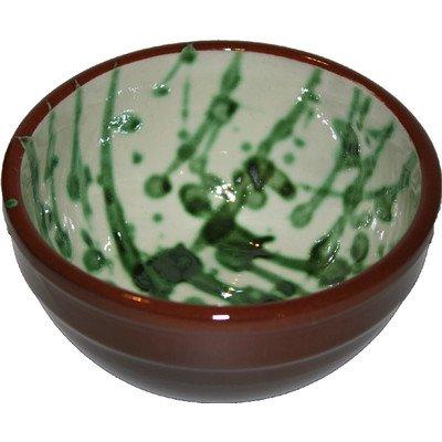 Amazing Cookware Bol Splatter Deep Pudding en Terre Cuite, crème et Vert, 13 cm