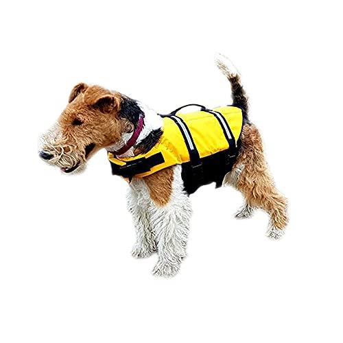 Stunluxe DogTec Premium Schwimmweste Hund - SL D1 Hundeschwimmweste - Rettungsweste für Hunde - Größenverstellbar mit Griff und Reflektoren - S - Gelb - Oxford-Nylon