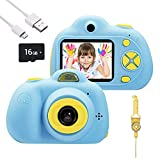 omzer Kids Toys Camera for 3-6 Year Old Girls Boys, Compact Cameras for Children, Best for 5-10 Year Old Boy Girl 8MP HD Video Camera Creative Present,Blue(16GB Memory Card Included)