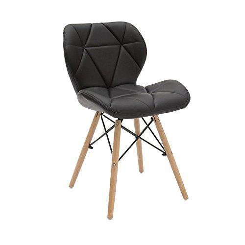Fauteuil design moderne en simili cuir et pieds en hêtre, couleur noir