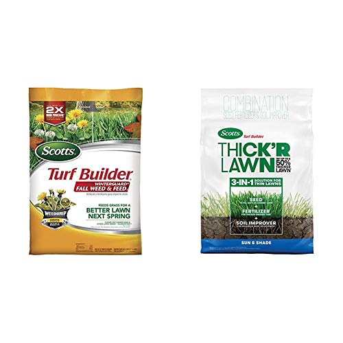 Scotts Turf Builder WinterGuard Fall Weed and Feed 3, 15,000 sq. ft. & Turf Builder Thick'R Lawn Sun & Shade - 3 in 1 Lawn Fertilizer, Seed, Soil Improver, Seeds up to 4,000 sq. ft, 40 lb.