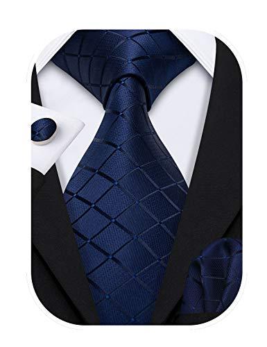 Hi-Tie - Juego de corbata de cachemira tejida de seda para hombre