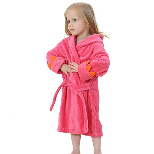 IDGIRL Toddler Dinosaur Cotton Bathrobe for Girls Boys 1-2 Years Red