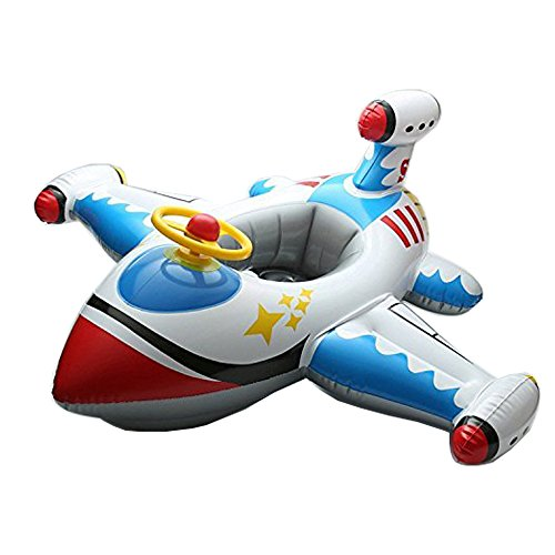 Inflatable Airplane Baby Kids Toddler Infant Swimming Float Seat Boat Pool Ring C WhiteBlue