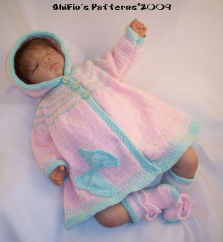 Knitting Pattern  KP123  baby hooded jacket and booties butterfly motif