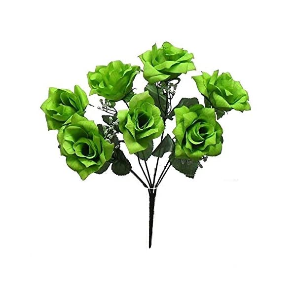 7 Open Roses Lime Green Soft Touch Silk Wedding Bouquet Flowers Centerpieces
