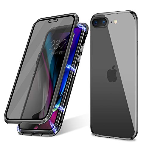 iPhone 7 Plus/ 8 Plus Case,Misscase Ultra Slim Magnet Protective Case with Metal Frame Front and Privacy Screen Protector [Magnetic Adsorption] [Anti Spy Screen Protector](Black Frame Clear Back)