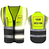 High Visibility Safety Vest with Reflective Strips Custom Your Logo Hi Vis 5 Pockets Outdoor Work Vest (Neon Yellow XL)