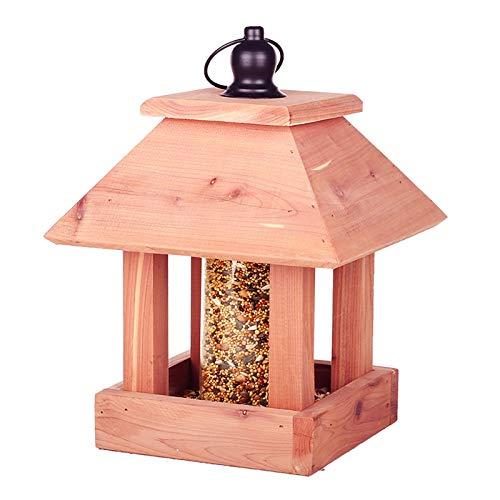 ASDQWER Alimentador de Aves Silvestres para Exteriores, alimentador de alejado de Aves Grandes, alimentador de Aves de Madera, instalación Simple, fácil de Limpiar, con Granero (Capacidad 0.5kg)
