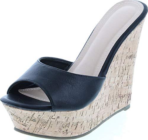 Static Footwear Womens Ardo-42 Popular Wedge Sandal,Black,7