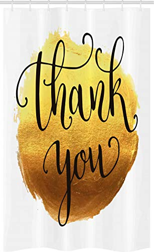 ABAKUHAUS Danke dir Schmaler Duschvorhang, Golden Yellow Ro& Farbe, Badezimmer Deko Set aus Stoff mit Haken, 120 x 180 cm, Senf Caramel Koksgraue